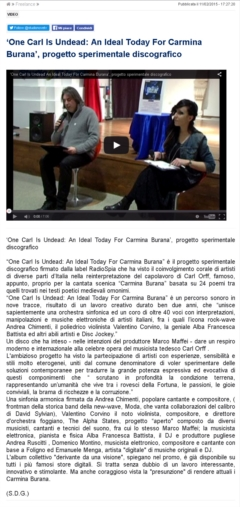 Studio9tv - 11/02/2015 - One Carl Is Undead: An Ideal Today For Carmina Burana, progetto sperimentale discografico